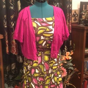 Lane Bryant Green & Magenta Dress w/Bolero